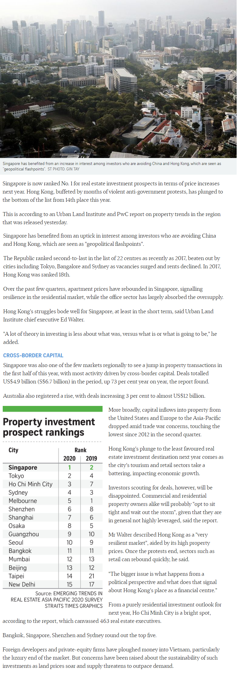 Singapore Tops Region For Property Investment Prospects
