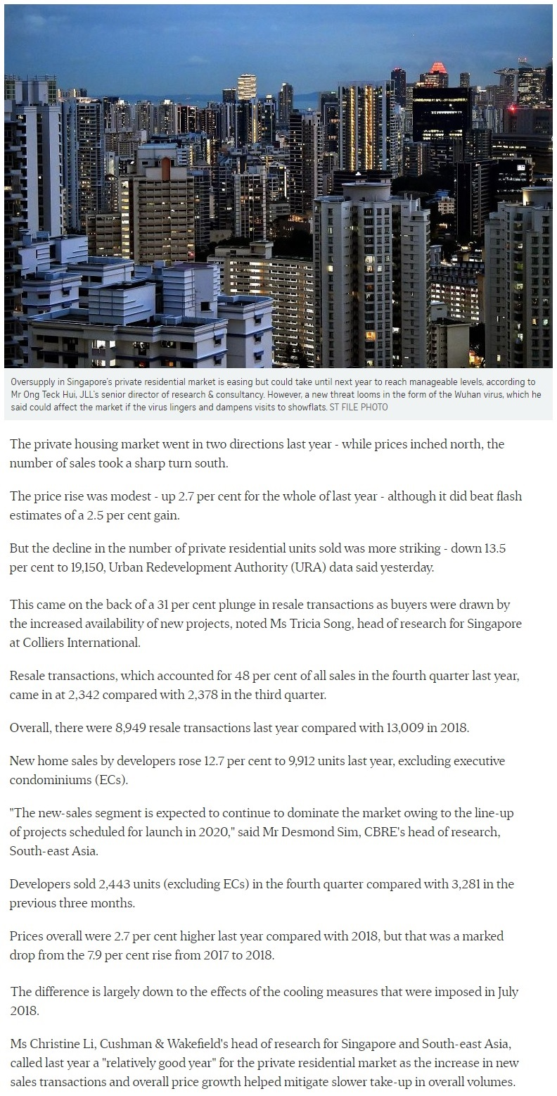 Marina One Residences - Singapore private home prices inch up 2.7% for 2019 Part 1